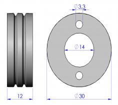 Wire feed rollers Ø30x12, calibrated