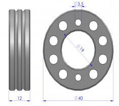 Wire feed rollers Ø40x12 fluxed core wire
